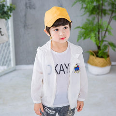 18 summer run amount sunscreen children`s pure color light jacket cartoon pattern sunscreen clothing white 90 cm