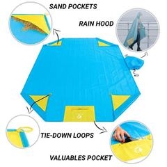 Hot style portable three-in-one raincoat raincoat raincoat multi-function mat for outdoor picnic wat huang 140 * 200 cm