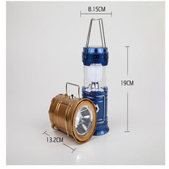 Solar horse light camping lamp rechargeable outdoor portable telescopic emergency light UBS model 58 golden