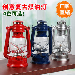 Adjustable old - fashioned iron - art portable tent camping kerosene lamp outdoor camping equipment  black