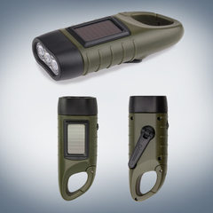 Outdoor multi-functional solar flashlight led flashlight hand-shake power generation intelligent fla Army green
