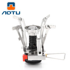 Concave and convex portable mini head camping stove outdoor air furnace folding band electronic igni Black pillar red ignition