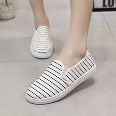 Summer 2018 new canvas shoes women`s shoes baida street shoes small white shoes striped Korean versi white 35
