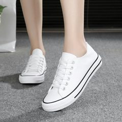 Spring new low-top harajuku men`s and women`s lovers` three-time vulcanized shoes for the basic summ white 36