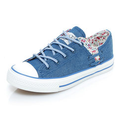 2018 shenma new style canvas shoes women low top breathable student shoes Korean version of floral l blue 35
