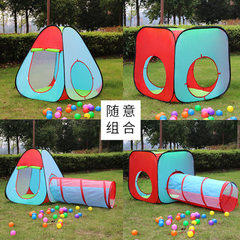 Children`s outdoor color matching game tent three pieces of collapsible children`s tent with tunnel  Color matching A single