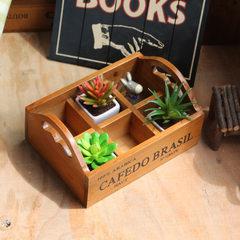 Zakka杂货木质做旧收纳盒 手提实木多功能整理盒家居桌面储物木盒 手提六格