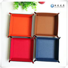 PU leather four-corner tray change plate sundries collection box dry fruit tray table receiving plat red 18 * 18