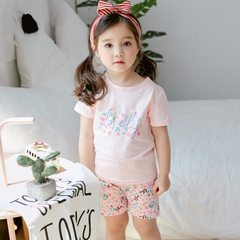 Children`s pure cotton men and girls short sleeve T-shirt two sets of children`s Korean version chil Pink LOVE 90 cm