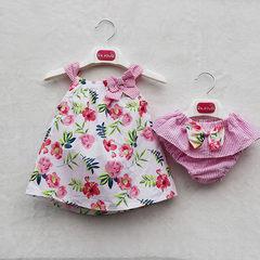 2018夏季童装 爆款花朵印花蝴蝶结上衣配裤子 新款童套装一件代发 粉色 80cm