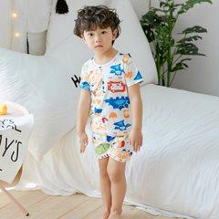 Korean version of children`s short sleeve T-shirt shorts suit cotton children`s wear printed boys an White dinosaur world 140 cm