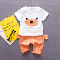 Summer children`s short sleeve baby suit children`s boy and girl baby breathable sweat children`s we Jp ear bear orange mouth S 80