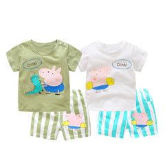 Factory direct sale summer cartoon boys and girls children`s suit new piglet stripe leisure children white 80 cm