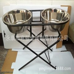 Pet bowls, shelf bowls, pet lifting bowls Black, chrome plated