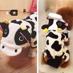 厂家直销狗狗衣服珊瑚绒奶牛变身装四脚装泰迪秋冬衣服宠物冬装 图片色 XS