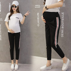 Korean version of maternity pants spring and autumn new pregnant women Roman cloth nine-point halen  black m