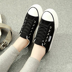 Run the 2018 summer low help pine cake bottom female pure color canvas shoes Korean version of stude white 36
