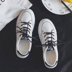 批发2018新款韩版帆布鞋女一件代发百搭小白鞋布鞋平底板鞋黑白 白色 35