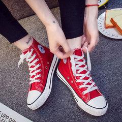 一件代发2018春款平底高帮帆布鞋女学生百搭经典布鞋舒适板鞋子 红色 35