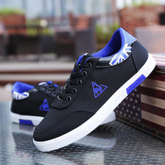 Classic spring style men`s low top canvas shoes Korean version of fashionable breathable plate shoes Black and blue 39