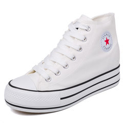 High upper thick-bottomed raised canvas shoes leisure shoes women`s shoes inner raised pine cake wom white 40