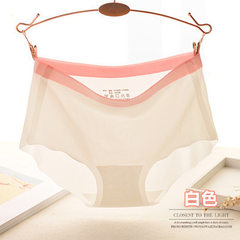 Seamless underwear women in the waist a piece of ice silk color candy color sexy cotton crotch brief white All code