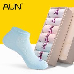AUN臭袜子女短袜棉质低帮秋冬船袜女士吸汗棉袜短筒四季女袜子 混色-2白2浅蓝2粉红