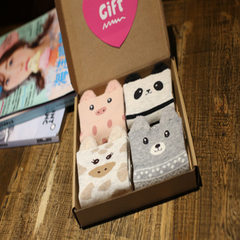 New products are all cotton exquisite box pack all cotton cartoon socks 4 pairs of gift box socks co stereotope All code
