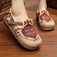 New style round head cotton and hemp national wind women`s shoes in summer old Beijing cloth shoes b red 35