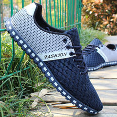 Hot sale of large size leisure men`s shoes breathable mesh sneakers men`s travel holiday single shoe 830 dark blue 39