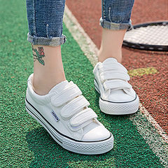 Kuangwang 2018 classic female style sports leisure magic paste students board shoes low-top canvas s white 35