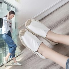 2018 new fisherman`s shoes and women`s leather upper with hemp soles for women Leather face white 35