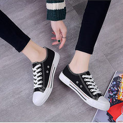 Ins women`s canvas shoes spring 2018 new students Korean version of the flat-bottomed flat white sho white 36