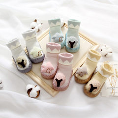 Children`s socks spring and summer cotton floor socks three-dimensional doll thin baby socks point g 351-1 melange The sole about 11 cm
