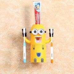 小黄人牙刷架懒人自动挤牙膏器吸盘式卡通刷牙杯创意儿童洗漱套装 双眼