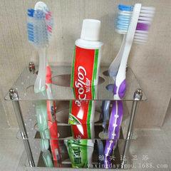创意不锈钢牙刷架 卫生间牙具座 多孔牙刷座 浴室收纳壁挂牙膏架 不锈钢色 方型