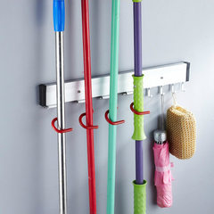 Space aluminum wall-mounted mop rack multi-function broom mop umbrella holder toilet cleaning tool h 400 x50x40mm
