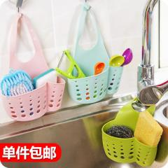 Kitchen shelf put dishcloth dishcloth cloth basket wire ball hanging basket small supplies sponge si Sky-blue sponge