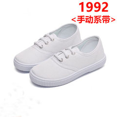 Children`s little white shoes boys` canvas shoes kindergarten girls` white cloth shoes children`s da 1992 22 yards/inner length about 15.4cm