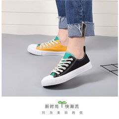 Running step spring new canvas shoes women`s Korean version of the low-top sports casual shoes for h Black and yellow 36