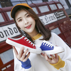 A new Korean version of the 2018 summer model for the generation of women`s shoes with canvas shoes, Pink is green 35