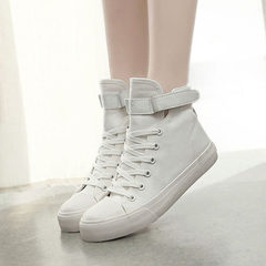 An all-black high-top canvas shoe for the Korean version of the hair and cashmere student`s women`s  white 35