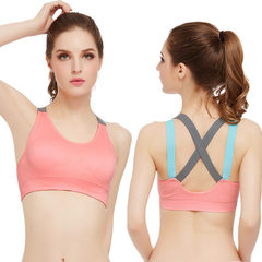 New style cross back suspension belt no steel hoop sports underwear quick dry running yoga exercise  pink s.