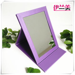 Manufacturer direct selling high quality PU leather folding mirror desk mirror fashion dressing mirr violet 16.5 * 12 cm