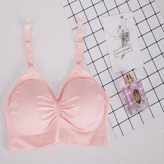 妙丽芬 孕妇哺乳文胸 调整型胸罩 前开扣大码无钢圈文胸1009# 粉色 M