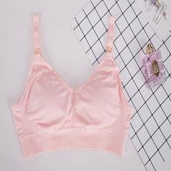 妙丽芬 无缝哺乳文胸怀孕期聚拢防下垂无钢圈胸罩1012# 粉色 S