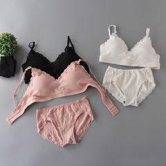 春夏无钢圈蕾丝可调节裸衣大奶文胸套装 棉竖条运动睡眠文胸 批发 白色 均码