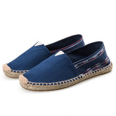 New style lovers` canvas shoes, flax base, lazybones, men`s hand-made hemp rope, hemp bottom shoes,  Deep blue national style of flax 35