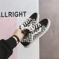 Summer canvas shoes men 2018 new spring breathable cloth shoes Korean version of the fashion student Black and white 39