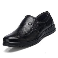 2018春夏新款男士真皮鞋平底休闲男鞋牛皮工作男鞋日常爸爸鞋批发 1320黑色 38
